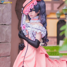 Anime Black Butler Ciel Phantomhive Lady Cosplay Costumes Women Fashion Fancy Party Dress for Halloween with Wig