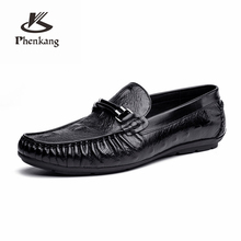 Genuine cow leather brogue Crocodile Wedding shoes mens peas casual flats vintage handmade oxford for men black red