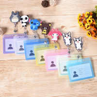 1 Pcs Cute Silicone Stitch Cat Melody Totoro Card Case Bank Credit Card Holders Bus ID Holders Identity Badge Retractable Reel