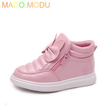 2016 New Children PU leather Martin boots Kids Boys Girls shoes autumn Bowknot fashion Princess Sneakers Size 27~37