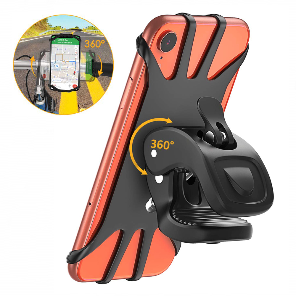 Untoom Universal Motorcycle Bicycle Phone Holder Stand For IPhone Xs Max X 8 7 Plus 360 Rotation Cell Phone Bike Handlebar Mount