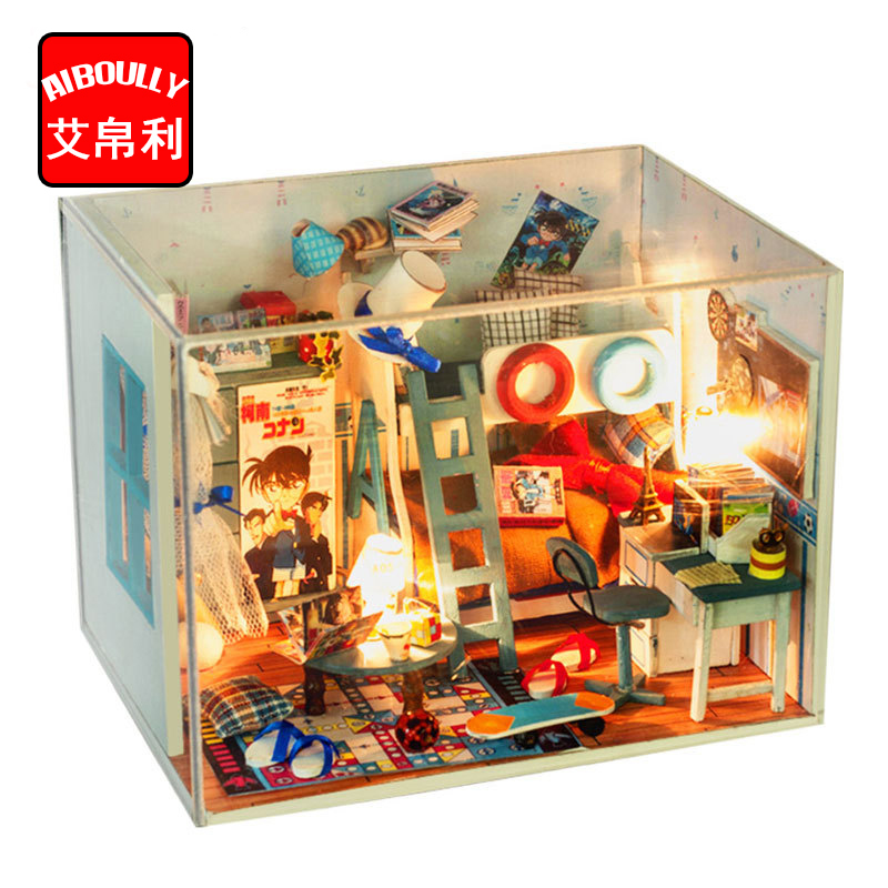 3D Handmade Doll House Furniture Miniatura Diy Detective Conan Miniature Dollhouse Wooden <font><b>Toys</b></font> <font><b>For</b></font> <font><b>Children</b></font> Boy Birthday Gift image