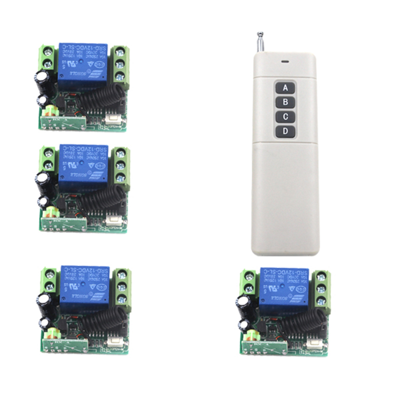 DC12V 1CH Channel AC RF Wireless Remote Control Module Switch Relay Set With 4 Receiver For Light Lamp Garage Gate 4187