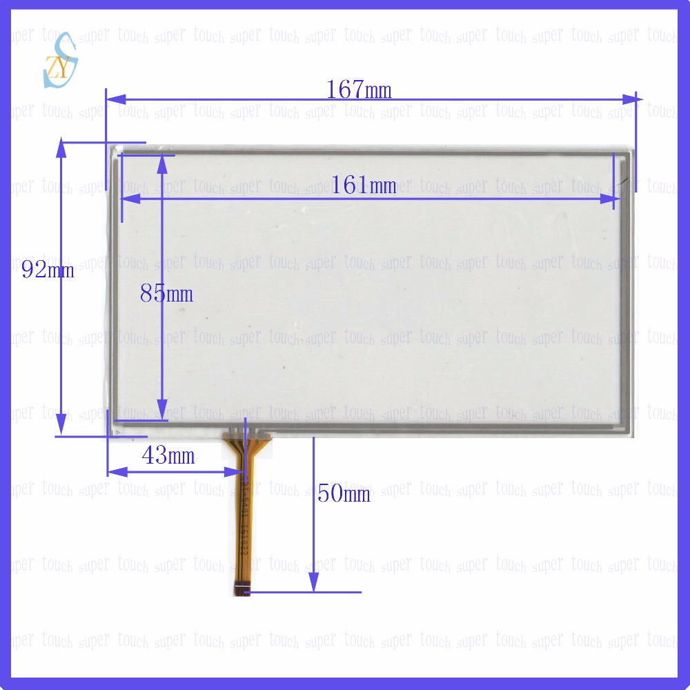 ZhiYuSun KDT-5401 7inch 4-wire resistive touch panel for Car DVD, 167*92 GPS Navigator screen  glass this is compatible new 10 1 inch 4 wire resistive touch screen panel for 10inch b101aw03 235 143mm screen touch panel glass free shipping
