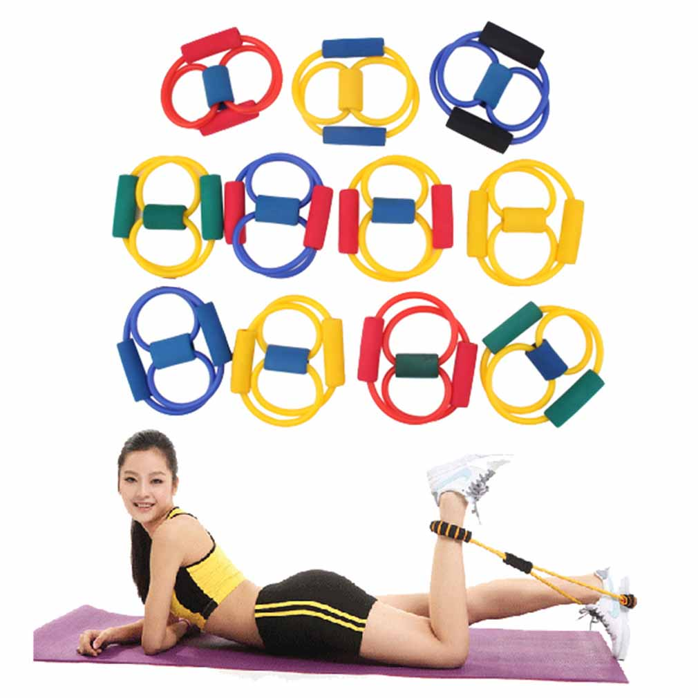 NEW Yoga 8 Type Resistance Band Tube Body Building Fitness Exercise Tool