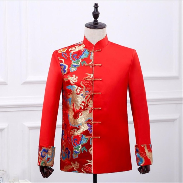2018 New Chinese style men groom married formal dress costume red ...