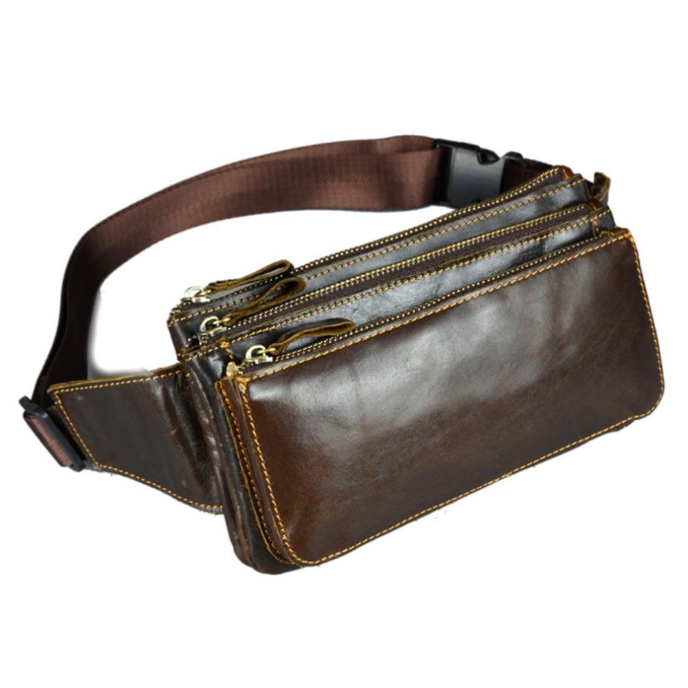 Mannen Olie Wax Echt leer Koeienhuid Vintage Travel Cell / Mobiele telefoon Hip Bum Riem Pouch Heuptasje Taille Purse Bag