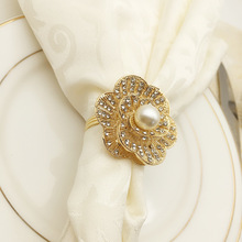 10PCS gold and silver pearl napkin buckle plum ring mouth cloth alloy