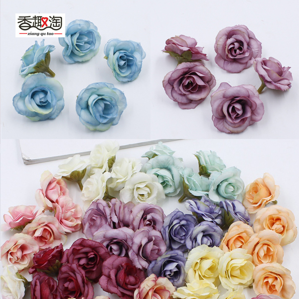 5pcs/bag 4cm artificial flower silk rose head wedding party home decoration DIY wreath scrapbook craft fake