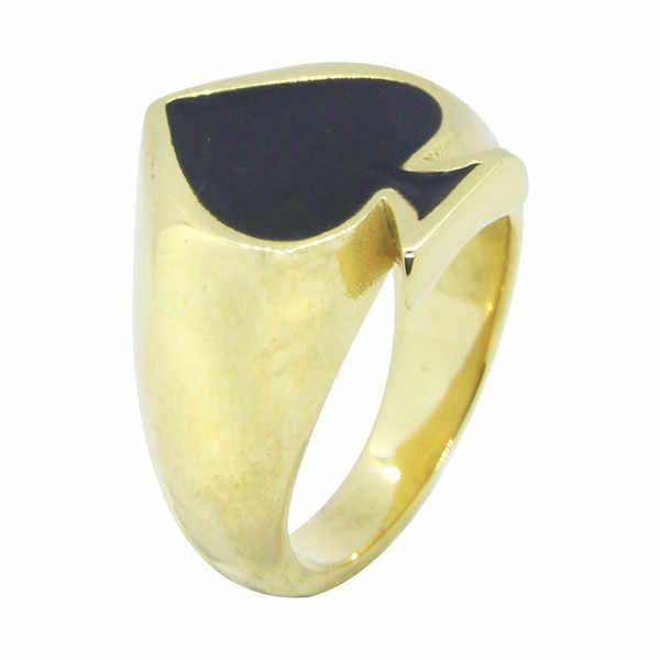 Golden Spades แหวน 316L สแตนเลสผู้หญิง Mens ขัด Biker Ace แหวน