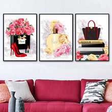 Perfume Lipstick High Heels Wall Art Canvas Painting Paris Nordic Posters And Prints Watercolor Pictures For Living Room
