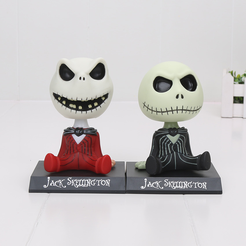 цена на 10cm The Nightmare Before Christmas jack Wacky Wobbler Bobble Head PVC Action Figure Model Toy