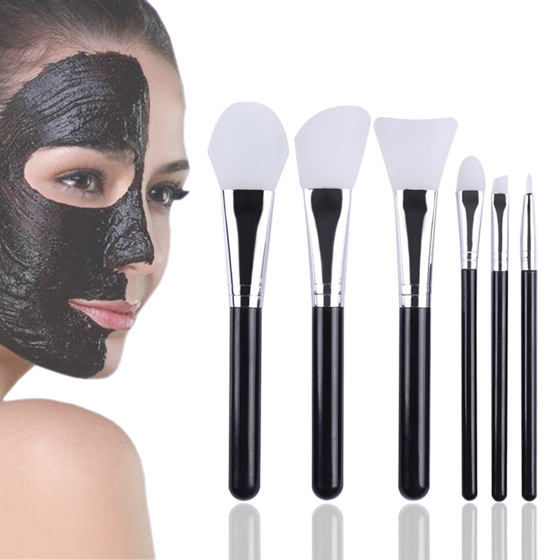 6pcs Silicone Head Makeup Brush Set Facial Face Mask Brush Eye Makeup Brushes Cosmetic Skin Care Tool deep face cleansing brush facial cleanser 2 speeds electric face wash machine