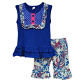 Wholesale Baby Girl Clothes Summer Blue Sleeveless Top Chest Button Decor Ruffle Hem + Leaves Pattern Shorts Dailywear S030