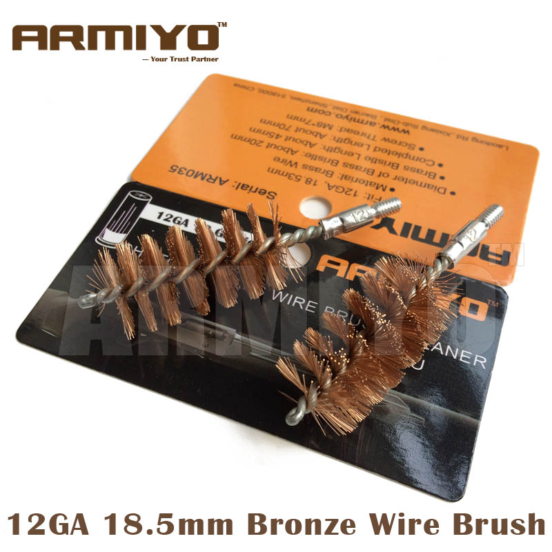 Armiyo 12GA 18.5mm 12 Gauge Shot Gun Bore Cleaning Barrel Brush Cleaner Kit Tactical Hunting Accessories Screw Thread Size 8-32
