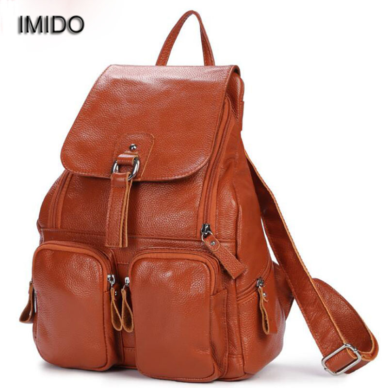 IMIDO 2017 Brand Luxury cow genuine leather backpacks women bags travel backbag female shoulder backpack mochila feminina SLD012 2016new rucksack luxury backpack youth school bags for girls genuine leather black shoulder backpacks women bag mochila feminina
