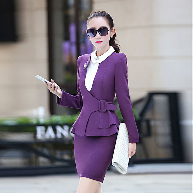 Skirt Suit Ruffles Sale New Polyester 2016 Occupation Two Pieces Of Jewelry Studio Work Clothes Hairdresser Beautician Hotel