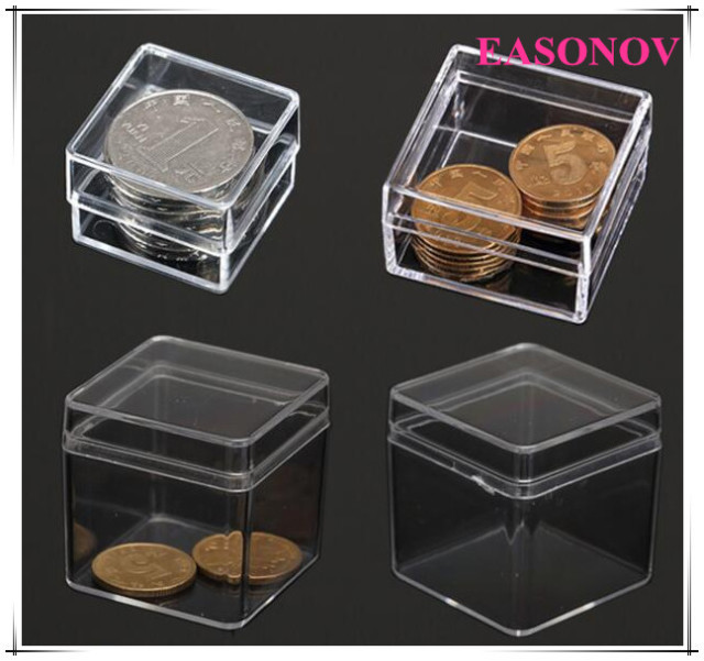 10 pcs lot carr petite bo te ps transparent bo te de rangement en plastique collection vitrine. Black Bedroom Furniture Sets. Home Design Ideas