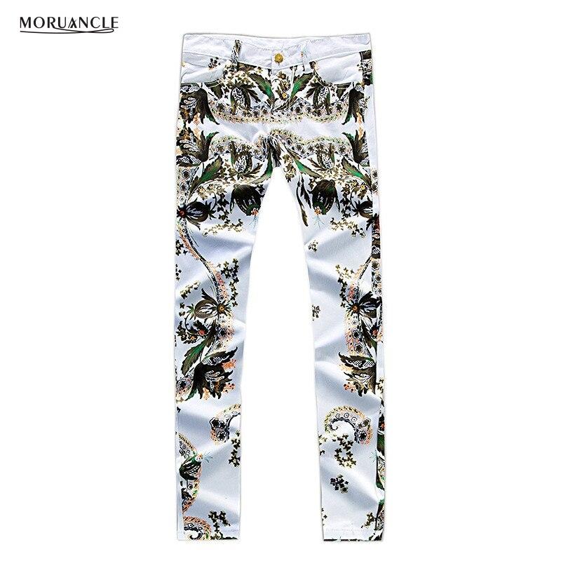 MORUANCLE Fashion Men s Flower Printed Jeans Pants Brand Designer Painted Denim Joggers For Male Slim
