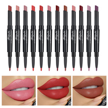 12 Color 2 in 1 Semi Matte Double Lipstick Pen Moisturizing Lip Liner Natural Long Lasting Pigments Waterproof Lipstick TSLM1