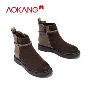 Image 3 - AOKANG bottes de moto pour femme, chaussures Martin chics, Style britannique, pour femmes, chaussures à la cheville, automne et hiver décontracté