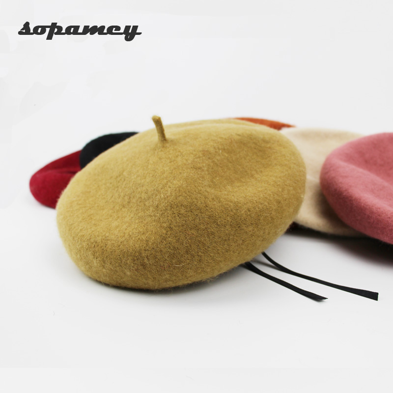 2017 New Winter Berets Hat Cheap Fashion New Women Wool Vintage Berets 7 Solid Color Caps Female Bonnet Warm Walking Hat Cap A Wide Selection Of Colours And Designs