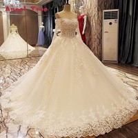 Angel Tree Champagne trouwjurk baljurk lace up lange mouwen floor lengte applicaties lace vestido casamento real photo