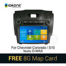 IOKONE Car DVD Video Player GPS Stereo multimedia for Chevrolet Cororado S10 Isuzu D-MAX Dual With Bluetooth GPS SWC 8G SD card