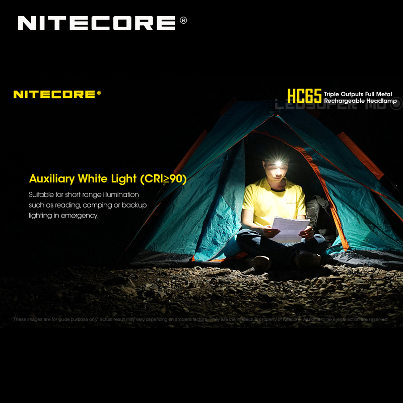 Top 1 Selling Nitecore HC65 CREE XML2-U2 LED 1000 Lumens Triple Output Full Metal Rechargeable Headlamp with Li-ion Battery 3