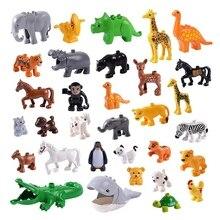 Серия животных, модели, фигурки, большие строительные блоки, совместимые с LEGO Duplos, кубики, части животных, развивающие игрушки, подарок для детей