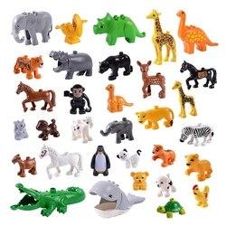 الحيوان سلسلة نموذج أرقام كبيرة اللبنات الحيوانات ألعاب تعليمية للأطفال الأطفال هدية متوافق Duploed الاطفال هدايا
