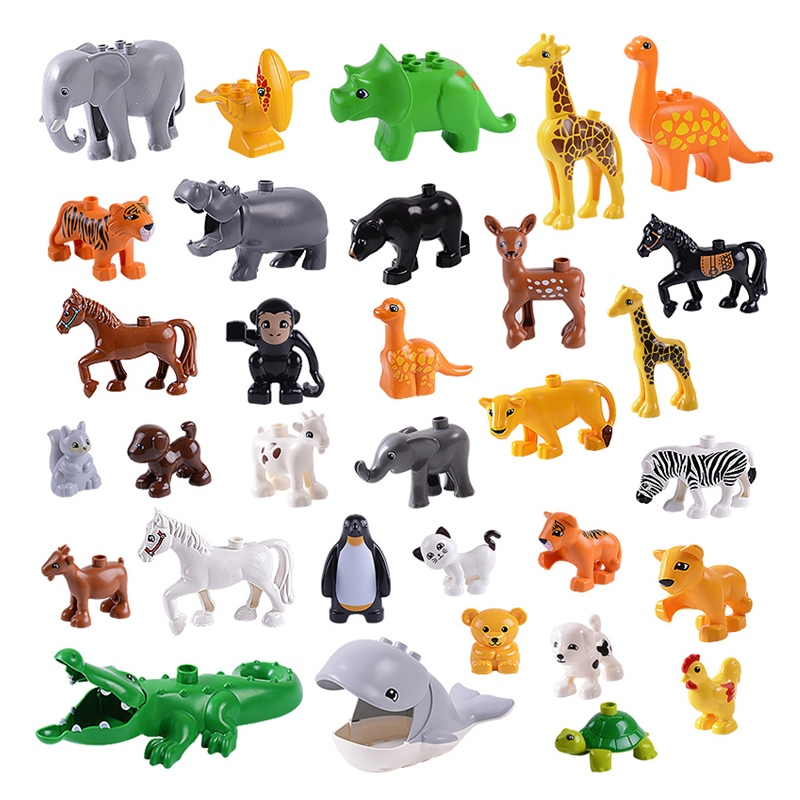 Animal Series Model Figures Big Building Blocks Animals Educational Toys For Kids Children Gift Compatible With Legoed Duploe lps pet shop toys rare black little cat blue eyes animal models patrulla canina action figures kids toys gift cat free shipping