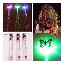 10 pçs/set Tranças Luz LED Novidade Borboleta Hairpin Colorido Brilhante Para A Mulher Menina Tipo Garra Grampo de Cabelo Acessórios Do Casamento Do Partido