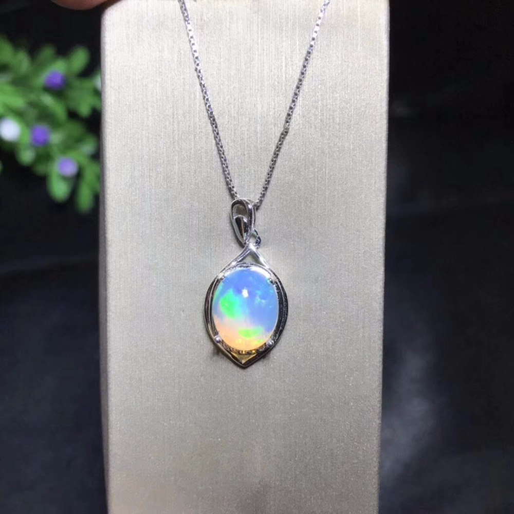 Natural Opal Necklace, 8x10mm, Australian Mining Area, Color Changing And Colorful, 925 Silver