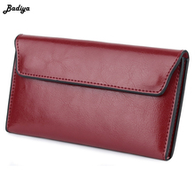 New Quality Genuine Leather Women Wallet Large Capacity Money Bag Solid Color Lady Clutch Bags Multifunction Purse Phone Bag brown leather look solid color clutch bag