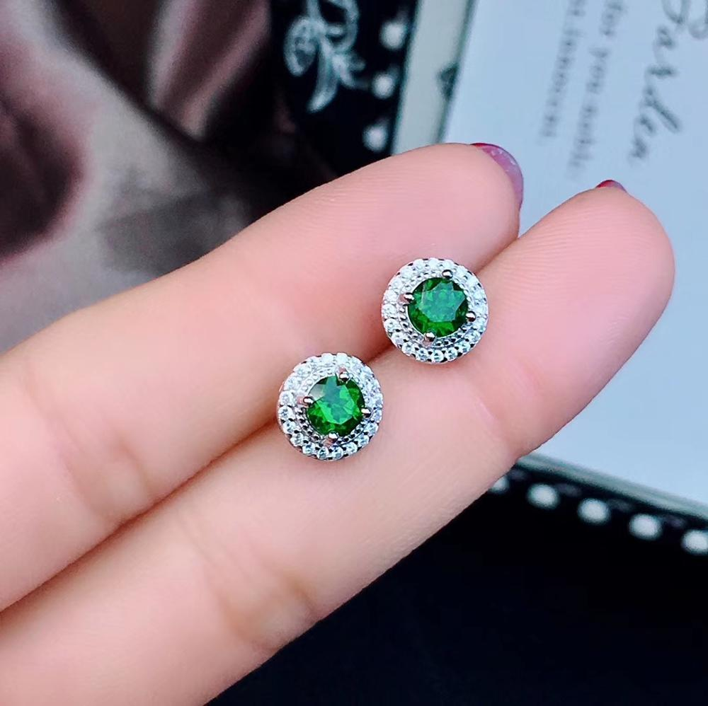 natural green diopside earrings S925 silver Natural gemstone earring women fashion small simple round girl gift party jewelrynatural green diopside earrings S925 silver Natural gemstone earring women fashion small simple round girl gift party jewelry