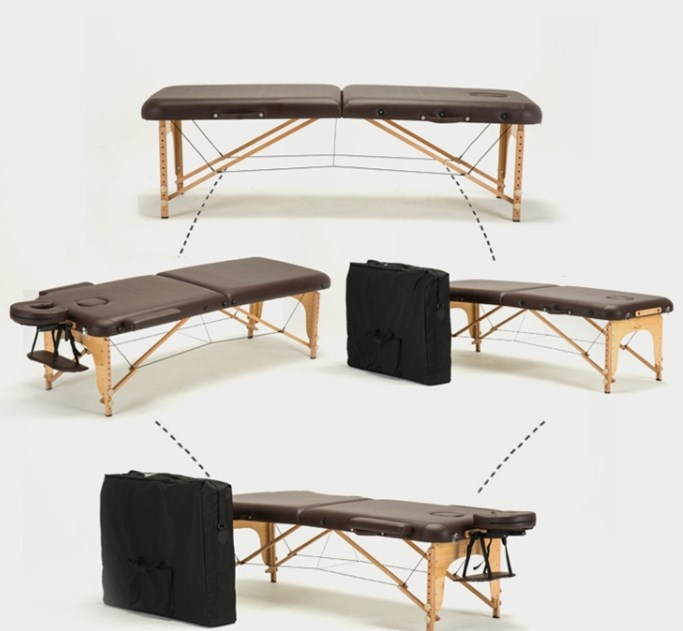 Folding Beauty Bed 185cm length 60cm width Professional Portable SPA Massage Tables Adjustable with Bag Salon Furniture Wooden