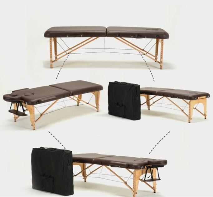 Lit de beauté pliant 185 cm longueur 60 cm largeur professionnel Portable SPA Tables de Massage réglables avec sac meubles de Salon en bois