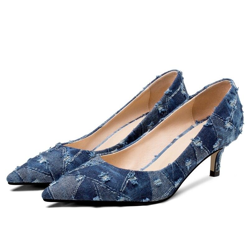 Ayakk.'ten Kadın Pompaları'de ORCHA LISA Denim Ayakkabı kadın Yüksek topuklu Bayan pompaları Ince yüksek topuk Sığ sivri burun Moda Seksi Ilkbahar/Sonbahar pompaları C540'da  Grup 2