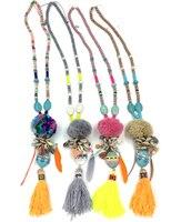 New Boho Handmade Long Tassel Pendants Necklace Velvet Ball Pompoms Pendants Necklace With Feather Charm For