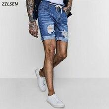 2019 мужские шорты модные рваные прямые тонкие джинсовые с карманами синие короткие мужские одежда