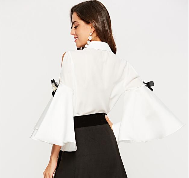 Bow Clothes Sleeve Shoulder Shirts 2018 Work Cultiseed Elegant Female Women Office Off White Flare black Tops Party The Blouses p7Xqwqaf6