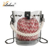 Valenkuci Casual Transparent Bag Female Designer Clear Bucket Shoulder Crossbody Bags for Women 2018 Girl Small Messenger Bags(China)