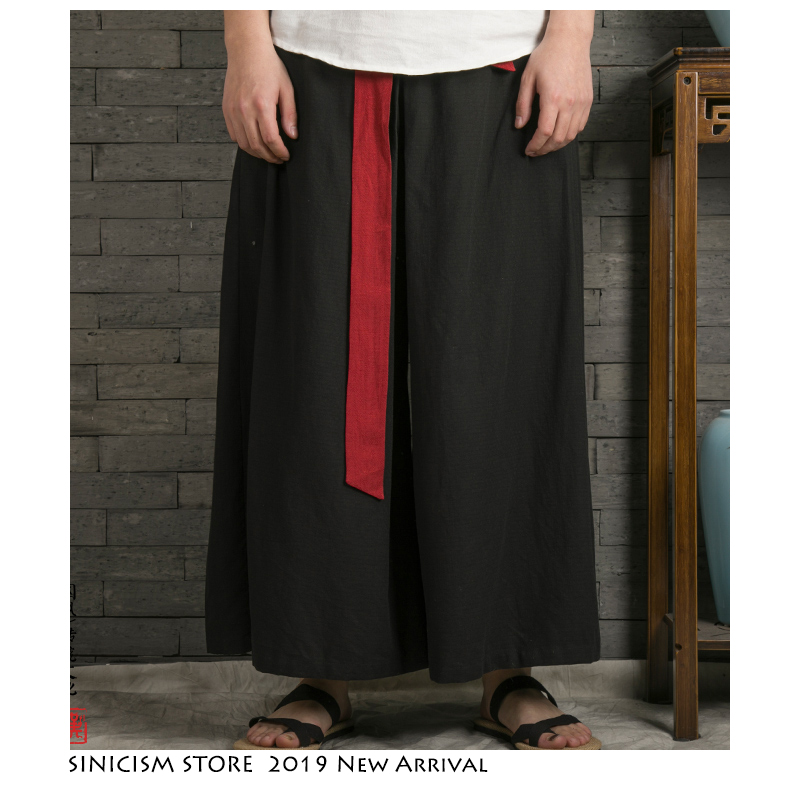 Sinicism Store 2019 Japanese Wide Leg Pants Men Streetwear Casual Cotton Linen Man Sweatpants Summer Chinese Style Male Joggers