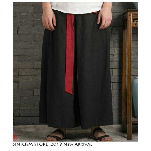 Sinicism Store 2020 Japanese Wide Leg Pants Men Streetwear Casual Cotton Linen Man Sweatpants Summer Chinese Style Male Joggers 27