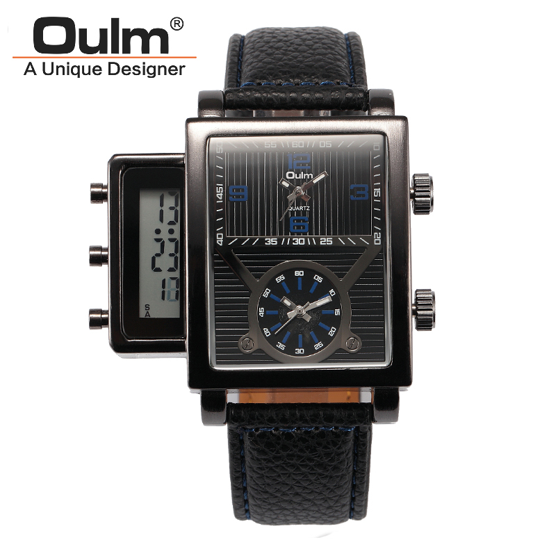 Oulm Brand Men Leather Strap Quartz Watch 2 Time Zone With Led Digital Fashion Casual Wristwatches With Gift Box Relogio Releges oulm brand mens leather band japan movt quartz watch dual time zone fashion hit color wristwatches with gift box relogio releges