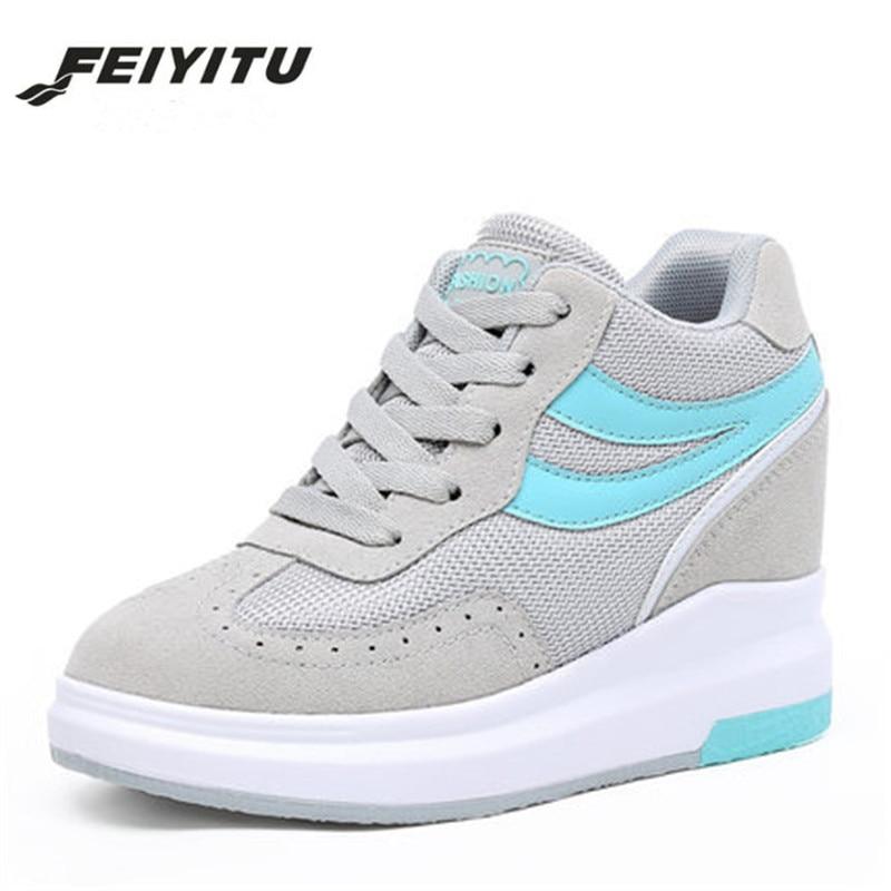 FeiYiTu Woman Hidden Heels Platform Wedges Sneakers Women Shoe Krasovki High Heels Footwear Tenis Feminino Casual Basket Femme