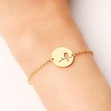 Женский браслет DOTIFI, браслет из нержавеющей стали золотистого и серебристого цвета с птицами