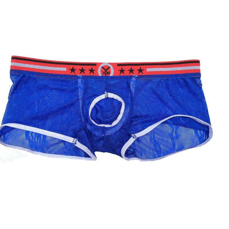 Underpants Men Boxer-Shorts Crotch-Hole Open-Front Transparent Sexy Lace Seamless Floral
