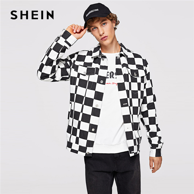 7e6a15a44d SHEIN Men Black And White Casual Pocket Front Button Up Regular Fit Plaid  Checked Jacket 2018 Autumn Mans Coat And outerwear
